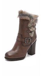 Frye Penny Lux Moto Short Booties Dark Grey