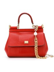 Dolce And Gabbana Small 'Sicily' Tote Red