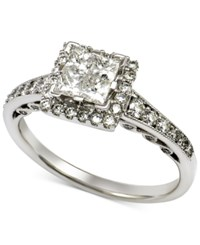 Macy's Diamond Quad Halo Engagement Ring 1 Ct. T.W. In 14K White Gold
