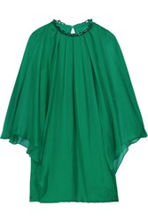 Halston Heritage Embellished Draped Chiffon Mini Dress Jade