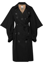 Burberry Cotton Gabardine Trench Coat Black