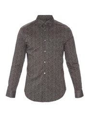 John Varvatos Flower Print Long Sleeved Cotton Shirt