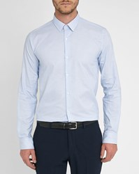 M.Studio Sky Blue Gus Faux Plain Classic Collar Shirt