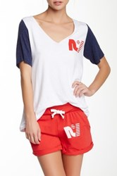 Rebel Yell Short Sleeve Baseball V Neck Multi