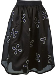 Jupe By Jackie Floral Embroidered Full Skirt Black