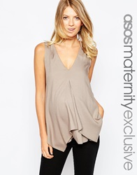 Asos Maternity Nursing Woven Vest With Overlay Taupe