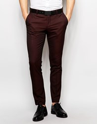 Selected Homme Skinny Luxe Polka Dot Suit Trousers Burgundy Purple