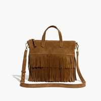 Madewell The Transport Crossbody Suede Fringe Edition Deep Chestnut