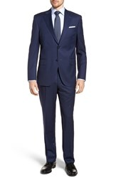 Peter Millar Big And Tall Classic Fit Plaid Wool Suit Navy