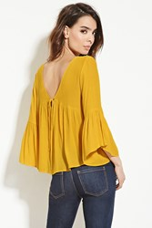 Forever 21 Contemporary Shirred Blouse Mustard
