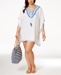 Raviya Plus Size Embroidered Peasant Cover Up Tunic Women's Swimsuit White