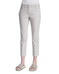 Brunello Cucinelli Cropped Stretch Twill Pants Light Gray Light Grey
