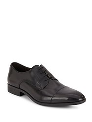 Saks Fifth Avenue Leather Cap Toe Derby Shoes Black