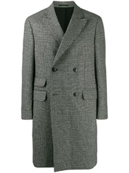 Z Zegna Checked Double Breasted Coat Black
