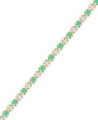 Victoria Townsend Emerald 3 1 6 Ct. T.W. And White Topaz 2 1 5 Ct. T.W. Bracelet In 18K Gold Over Sterling Silver