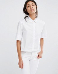 Mango Short Sleeve Boxy White Shirt White