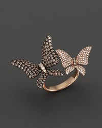 Bloomingdale's Brown And White Diamond Butterfly Statement Ring In 14K Rose Gold