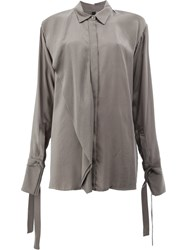 Ilaria Nistri Shirt With Foldover Detail Cupro Grey