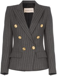 Alexandre Vauthier Double Breasted Pinstripe Blazer Grey