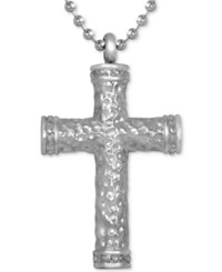 Macy's Men's Diamond Hammered Cross Pendant Necklace 1 10 Ct. T.W. In Stainless Steel Silver