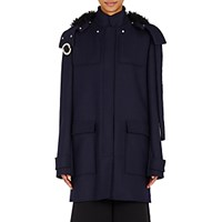 Proenza Schouler Women's Grommet Detailed Duffle Coat Navy Black Navy Black