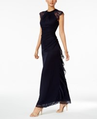 Betsy And Adam Ruched Lace Trim Gown Navy