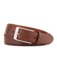 Robert Graham Clintwood Crocodile Embossed Belt Brown