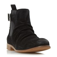 Dune Casper Buckle Strap Ruched Boots Black