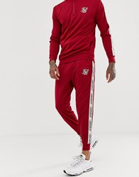 Sik Silk Siksilk Joggers In Red With Side Stripe