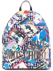 Love Moschino Printed Backpack Blue