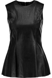 Maison Martin Margiela Mm6 Pleated Faux Leather Peplum Top Black