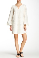Voom By Joy Han Suzette Bell Sleeve Eyelet Dress White