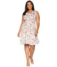 B Collection By Bobeau Plus Size Skye Knit Fit Flare Dress Washed Floral Multi