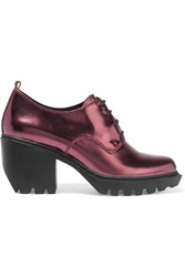 Opening Ceremony Metallic Leather Ankle Boots Purple