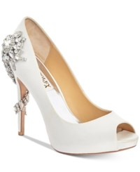 Badgley Mischka Royal Evening Pumps Women's Shoes White Satin