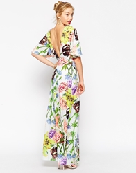 Asos Maxi Dress With Double Layer In Bloom Print