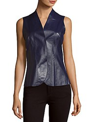 Akris Sleeveless Leather Top Blue