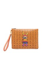 Mcm Rabbit Medium Pouch Cognac