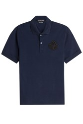 Alexander Mcqueen Cotton Polo Shirt With Embellished Motif Blue