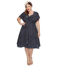Unique Vintage Sateen Ruffle Dotty Wrap Dress Navy Ivory Dot Women's Dress