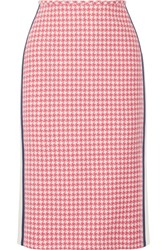 Prada Paneled Houndstooth Wool Pencil Skirt Pink