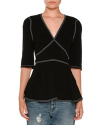 Stella Mccartney Topstitched Elbow Sleeve Sweater Black