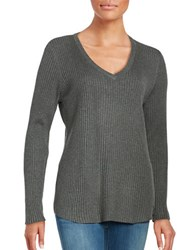 Calvin Klein Ribbed V Neck Sweater Heather Charcoal