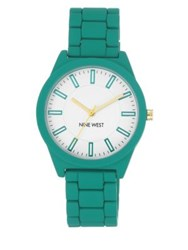 Nine West White Dial Analog Teal Rubber Bracelet Watch