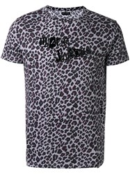Marc Jacobs Logo Leopard Print T Shirt Grey