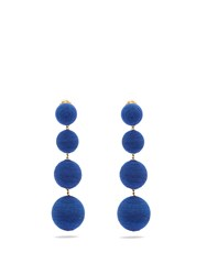 Rebecca De Ravenel Corded Silk Drop Clip On Earrings Blue