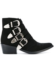 Toga Pulla Buckle Detail Ankle Boots Women Leather Suede 39 Black