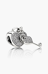Pandora Design 'Lock Of Love' Lock And Key Charm Sterling Silver Clear