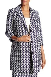 Trina Turk Notch Lapel Front Button Printed Coat White