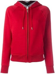 Burberry Zipped Hoodie Red
